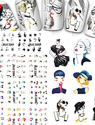 11PCS Designs Mixed Cartoon Figure Modern Girl Beauty Tips Nail Stickers