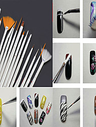 Nail Brushes 15pcs/set Professional Nail Art UV Gel Painting Drawing Liner Pens