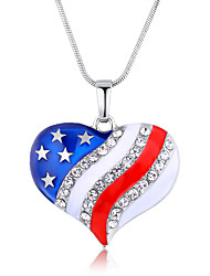 Women's Pendant Necklaces AAA Cubic Zirconia Alloy Heart Flag Fashion USA Dark Blue Jewelry Daily 1pc