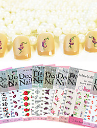 10 Sheets DIY Mixed Designs Water Transfer Nail Art Sticker Watermark Decals  Nail Tools Random Patterns