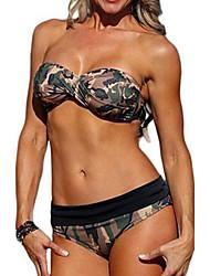 Femme Bandeau Bikinis Aux s Couleur Pleine Bandeau Polyester