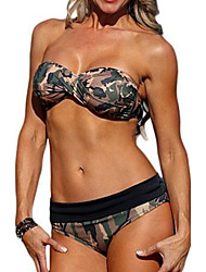 Women's Bandeau Bikini,Color Block Polyester Green