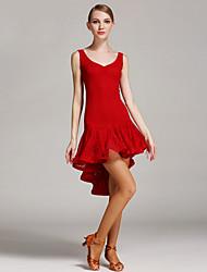 Danse latine Robes Femme Spectacle Dentelle Dentelle 1 Pièce Sans manche Taille haute Robe