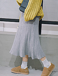 Sign new Korean version of the solid color was thin vertical stripe high waist skirts long section of the Spring and Autumn big skirt tide