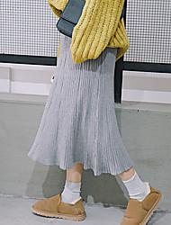 assinar nova versão coreana da cor sólida foi finas listras verticais altas saias de cintura longa seção da maré saia grande primavera e
