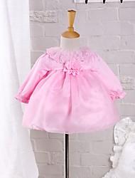 Baby Kleid-Ausgehen einfarbig Polyester Frühling Herbst Rosa