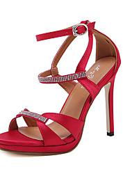 Damen-Sandalen-Kleid-SeideAndere-Schwarz Rot