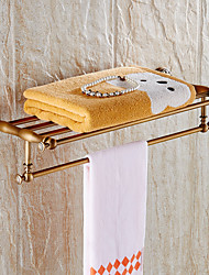 New Arrival Bathroom Accessories Classic Antique Brass Bathroom Towel Rack Bar Shelf Wall Mounted
