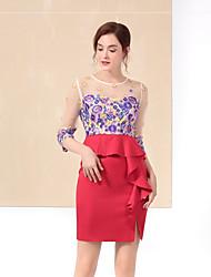 Jednoduché Sofistikované Běžné/Denní Bodycon Šaty Výšivka,Tříčtvrteční rukáv Kulatý Nad kolena Modrá Červená Polyester Podzim ZimaMid