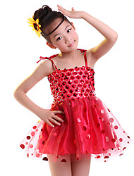 Children's Ballet Dance Dress Performance Dress Polyester 1 Pieces Sequins Sleeveless Kids Latin Dance Costumes