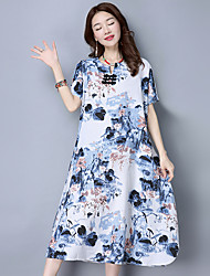Women's Going out Casual/Daily Beach Vintage Cute Chinoiserie A Line Sheath Swing Dress,Geometric Print Flower V Neck Knee-lengthShort