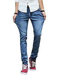 Men's Slim Jeans PantsCasual/Daily Simple Solid Mid Rise Button Cotton Polyester Micro-elastic All Seasons MG-Y604