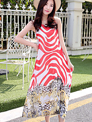 Going out Simple Swing Dress,Print Round Neck Midi Sleeveless Polyester Red Black Summer Mid Rise Inelastic