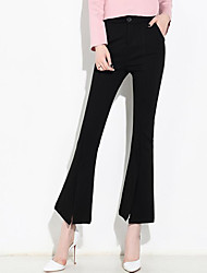 High Rise Micro-elastic Chinos Pants,Street chic Slim Solid
