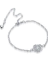 Bracelet de cheville/Bracelet Forme de Fleur Amitié Mode Vintage Bohême Style Punk Hip-Hop Turc Alliage Zircon Plaqué argent ArgentAux