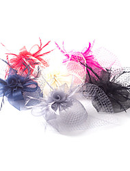 Lady Polyester Net Feather Fascinators Veil Wedding Hat