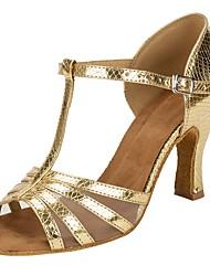Sapatos de Dança(Prateado Dourado) -Sapatos de Senhora-Personalizável-Latina