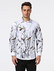 Men's Casual/Daily Beach Holiday Simple Shirt,Print Shirt Collar Long Sleeve Multi-color Cotton