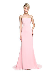 LAN TING BRIDE Court Train Spaghetti Straps Bridesmaid Dress - Elegant Sleeveless Jersey