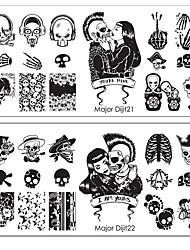 1шт Хэллоуин террорист панк шаблон арт скелет шаблон ногтей пункт 10 опционально