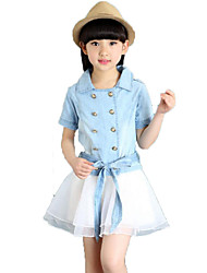 Casual/Daily School Solid Sets,Cotton Summer Short Sleeve Clothing Set