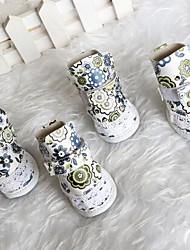 Hunde Schuhe und Stiefel Niedlich Winter Blume Weiss PU Leder