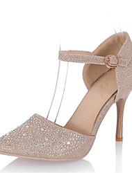 Tacón Stiletto-D'Orsay y Dos Piezas Zapatos del club-Tacones-Boda Vestido Fiesta y Noche-Purpurina Materiales Personalizados-Plata Oro