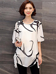 Women's Plus Size Casual/Daily Simple Spring Summer Blouse,Solid Print Round Neck Short Sleeve White Black Acrylic Polyester Medium
