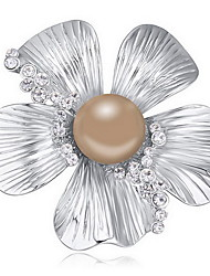 Women's Brooches Crystal Pearl Natural Austria Crystal Alloy Flower Cross Jewelry For Daily
