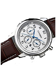 Men's Fashion Watch Quartz Alloy Band Silver Brown Brand