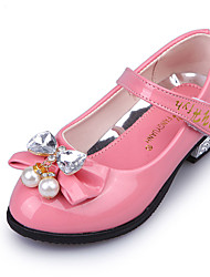 Girl Dress Shoes Summer Flower Girl Shoes Patent Leather Wedding Party & Evening Casual Low Heel Bowknot Hook & Loop Pink Red