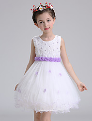 Ball Gown Short / Mini Flower Girl Dress - Cotton Satin Tulle Jewel with Embroidery Flower(s) Pearl Detailing