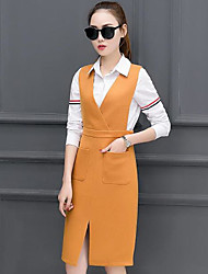 2017 spring new women's long-sleeved shirt in the long section was thin vest skirt waist strap dress two