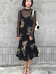 2017 au début du printemps de nouvelles korean femmes de grande taille mesh shirt + bretelles graisse mm pièce robe marée fishtail équipée