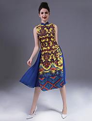 Mujer Línea A Vestido Casual/Diario Vintage,Estampado Escote Chino Midi Sin Mangas Amarillo Poliéster Primavera Verano Tiro Medio Rígido