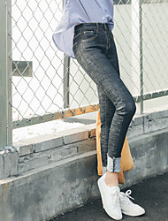 Sign -2017 spring new female waist jeans trousers pantyhose feet trousers pencil pants turn