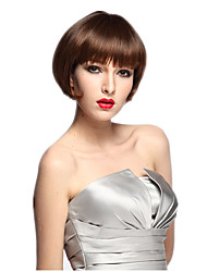 Capless Short Wig Synthetic Fiber Wig Brown Bob Women Wig Costume Cosplay Wig