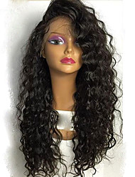 New! 7A Human Virgin Hair Wig Kinky Curly For Black Woman Glueless Full Lace Wigs With Baby Hair Natural Black Color Medium Brown Lace Cap
