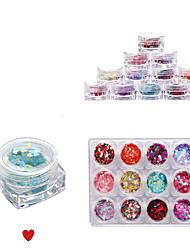 12 couleurs pleines Conseils ongles ongles ornements symphony petites paillettes amour