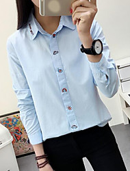 Women's Going out Simple Cute Spring Shirt,Letter Shirt Collar Long Sleeve White Cotton Sheer
