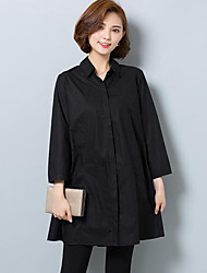 Chemise Femme,Couleur Pleine Décontracté / Quotidien Grandes Tailles simple Printemps Manches Longues Col de Chemise Coton Moyen
