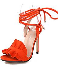 Heels Summer Fleece Dress Stiletto Heel Lace-up Orange Brown