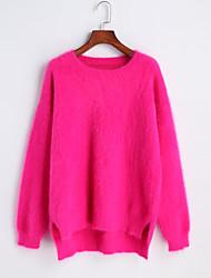 Damen Kurz Pullover-Lässig/Alltäglich Einfach Solide Blau Rot Rundhalsausschnitt Langarm Polyester Herbst Mittel Mikro-elastisch