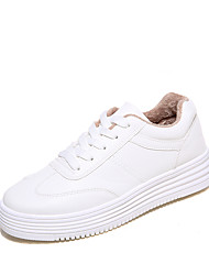 Women's Sneakers Spring Summer Fall Winter Comfort PU Outdoor Athletic Casual Low Heel Lace-up Black White