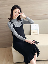 Sign in spring and autumn long section of core yarn flounced hem metal buckle strap sweater dress