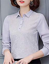 Women's Going out Casual/Daily Work Street chic Spring Shirt,Color Block Shirt Collar Long Sleeve Polyester Medium
