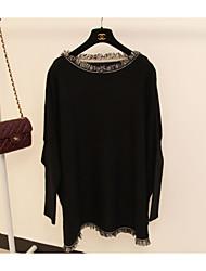 большое пятно бахромой битой рукав сыпучих с длинными рукавами свитер платье длинный свитер женский&ампер; 926