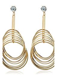 Diamond Metal Stud Earrings Drop Earrings Jewelry Women Wedding Party Zircon Silver Plated Gold Plated 1 pair Gold Silver