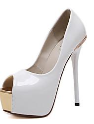 Damen-High Heels-Kleid-Lackleder-StöckelabsatzWeiß Schwarz