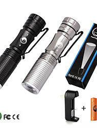 UKing ZQ-X900#-EU CREE Q5 LED 14500 Flashlight Torch Lamp Light Outdoor Kit with Batttery and Charger